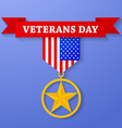 Golden award with veterans day text on banner USA vector image