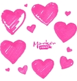 Pink marker painted isolated hearts vector image