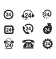 24 Hours Icons set vector image
