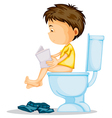 a boy sitting on commode vector image vector image