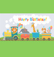 animals on train greeting card happy birthday vector image
