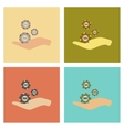 assembly flat icons poker Casino chips in hand vector image