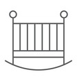 baby crib thin line icon child and bed vector image