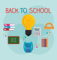 back to school label with supplies vector image