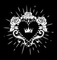 beautiful ornamental heart with crown and roses