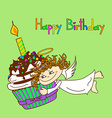 card for birthday with angel and cupcake vector image
