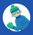 cartoon boy skiing in winter vector image