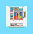 cartoon tidy wardrobe card poster on a blue vector image vector image