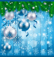 christmas baubles on wooden background in blue vector image vector image