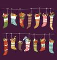 christmas socks santa xmas new year gift vector image vector image
