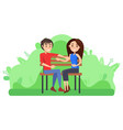 Couple sitting on bench romantic pair dating
