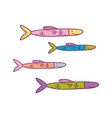 cute sea fishes icon vector image vector image