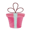 drawing pink gift box present ribbon valentine day vector image vector image