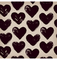 Endless hand drawn pattern with repeating hearts vector image