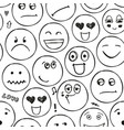 faces seamless pattern emotions doodle vector image vector image