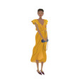 fashion girl in a trendy yellow wraparound dress vector image