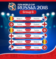 fifa world cup russia 2018 group g fixture vector image vector image