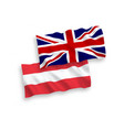 flags of austria and great britain on a white vector image vector image