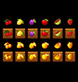 fruits slots icon set on wooden square game vector image vector image