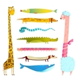 Fun Cartoon Long Animals Collection vector image vector image