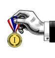 hand holding an award medal with blue white red vector image vector image