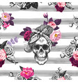 hipster seamless pattern with skull silhouettes vector image vector image