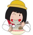Little girl eat noodles vector image