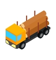 Logging truck icon isometric 3d style vector image vector image