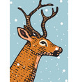 merry christmas banner deer or doe new year vector image vector image