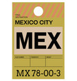 mexico airport luggage tag vector image vector image