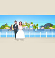 newlyweds man woman standing together romantic vector image vector image