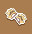 paper sticker on stylish background gloves for the vector image vector image