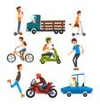 people on street set various vehicles cartoon vector image
