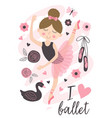 poster with beautiful ballerina girl vector image vector image