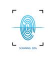 process fingerprint scanning on smartphone or vector image