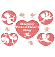set of 3d relief cupid icons for valentines day vector image vector image