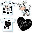 shirt with cute black and white cow vector image vector image