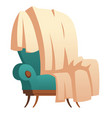 soft wooden chair with blanket thrown furniture vector image vector image