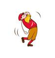 Vintage Golfer Swinging Club Teeing Off Cartoon vector image vector image