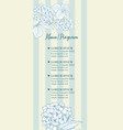 wedding invitation with blue hydrangea flowers on vector image