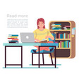 woman in library young lady reading book vector image