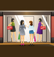 women window shopping in front of a clothing store vector image vector image