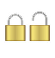 realistic closed and opened gold padlock vector image