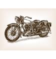 Retro motorcycle hand drawn sketch vector image
