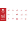 15 growth icons vector image vector image