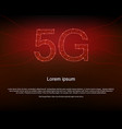 5g red background with polygon mesh binary codes vector image vector image