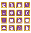 apple icons set purple vector image vector image
