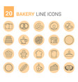 bakery line icons vector image vector image