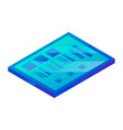 blue tablet icon isometric style vector image vector image