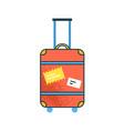 cartoon large orange suitcase with handle vector image